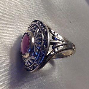Vintage Jewelry - Rhodochrosite Heavy 925 Sterling Ring Earrings 👌